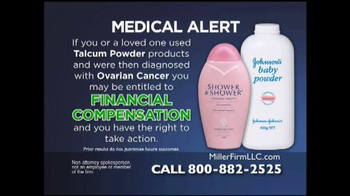 Miller Firm TV Spot, 'Talcum Powder Alert'