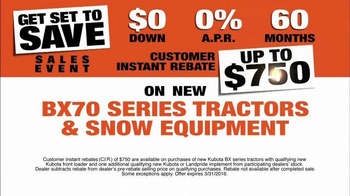 Kubota Get Set to Save Sales Event TV Spot, 'Tractors and Snow Equipment' - Thumbnail 5