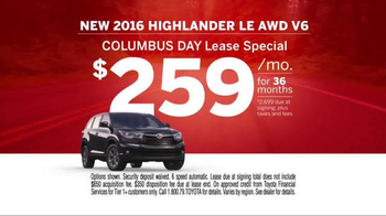 Toyota Columbus Day Lease Special TV Spot, 'Safety Is Key' - Thumbnail 8
