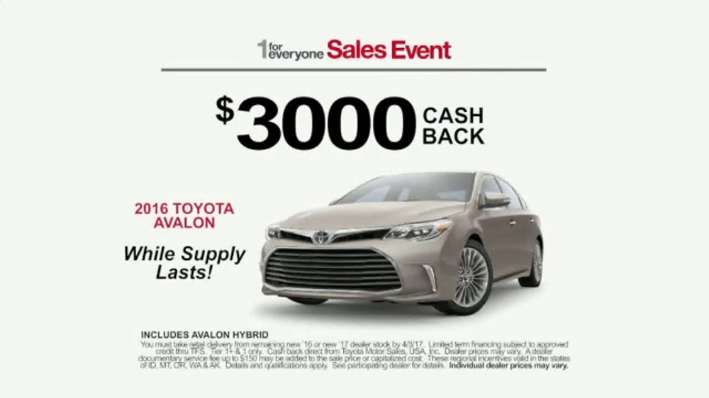 Toyota 1 for Everyone Sales Event TV Commercial, 'Prius & Avalon' [T2]