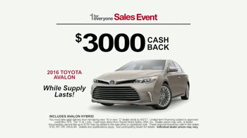 Toyota 1 for Everyone Sales Event TV Spot, 'Prius & Avalon' [T2] - 93 commercial airings