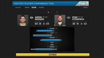 SAP Player Comparison Tool TV Spot, 'NFL Top Fantasy Defense' - 1 commercial airings