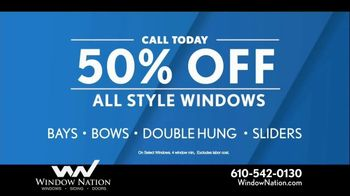 Window Nation 50 Percent Off Sale TV Spot, 'All Style Windows & Free Blinds' - Thumbnail 4