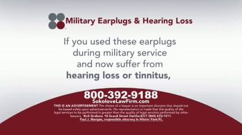 Sokolove Law TV Spot, 'Military Earplugs and Hearing Loss' - Thumbnail 3