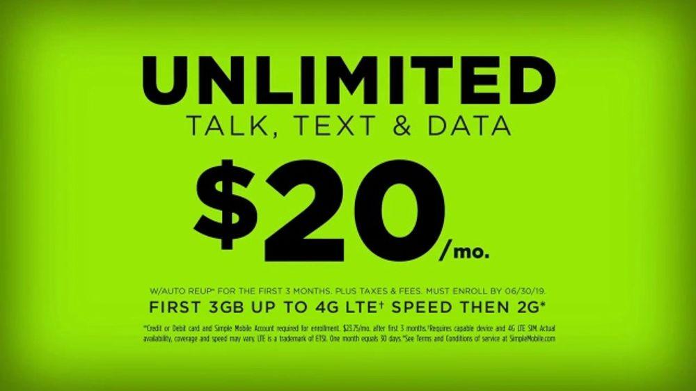 SIMPLE Mobile TV Commercial, 'No-Contract Advantage: $20' - Video