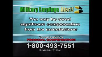 Knightline Legal TV Spot, 'Military Earplugs Alert' - Thumbnail 7