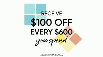 Dania Furniture TV Spot, '$100 Off Every $600' - Thumbnail 1