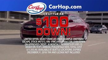CarHop Auto Sales & Finance TV Spot, 'Credit Problems?: $100 Down'