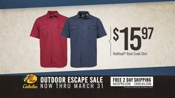 Bass Pro Shops Outdoor Escape Sale TV Spot, 'RedHead Shirts and Rugged Shark Shoes'