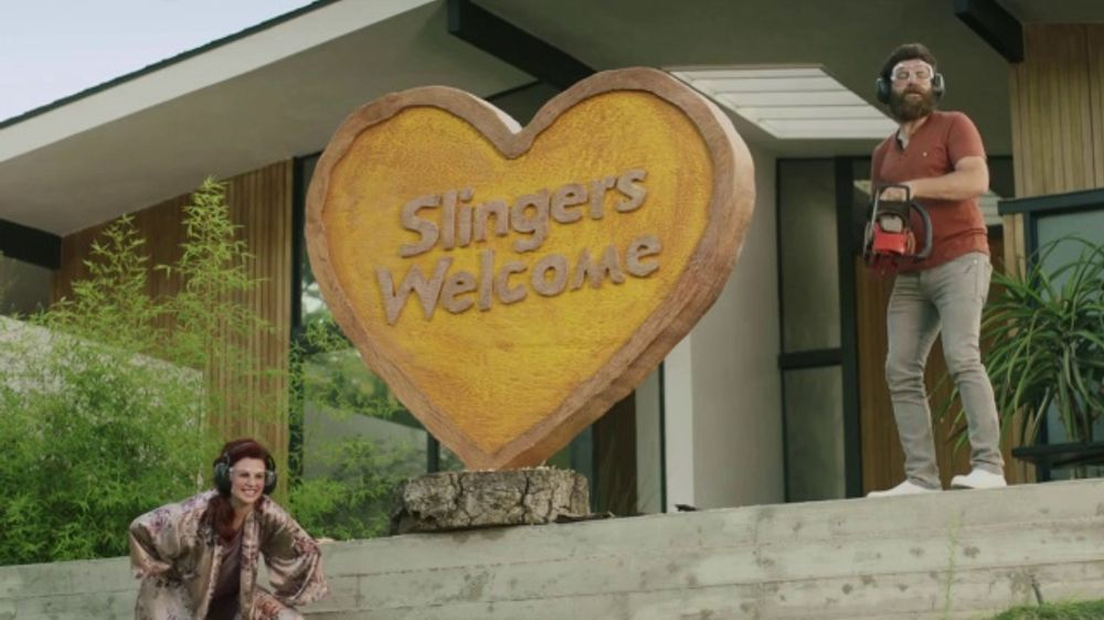 Sling TV Commercial, 'Statue: Seven Days Free' Featuring Nick Offerman,  Megan Mullally - Video