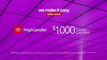 Toyota We Make It Easy Sales Event TV Spot, 'Highlander' [T2] - Thumbnail 6