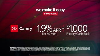 Toyota We Make It Easy Sales Event TV Spot, 'Camry' [T2] - Thumbnail 9