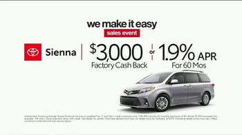 Toyota We Make It Easy Sales Event TV Spot, 'Sienna' [T2] - Thumbnail 4