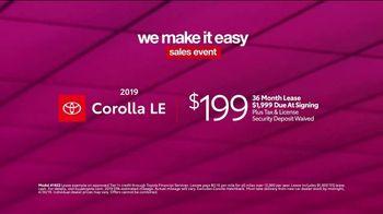 Toyota We Make It Easy Sales Event TV Spot, '2019 Corolla' [T2] - Thumbnail 7