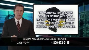 Combat Arms Earplugs Legal Helpline TV Spot, 'Tinnitus and Hearing Loss'
