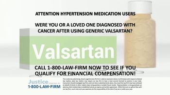 1-800-LAW-FIRM TV Spot, 'Diagnosed With Cancer After Valsartan Use' - Thumbnail 1