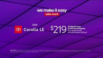 Toyota We Make It Easy Sales Event TV Spot, '2020 Corolla' [T2] - Thumbnail 7