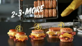 Hardee's 2 3 More Menu TV Spot, 'Breakfast Sandwiches'