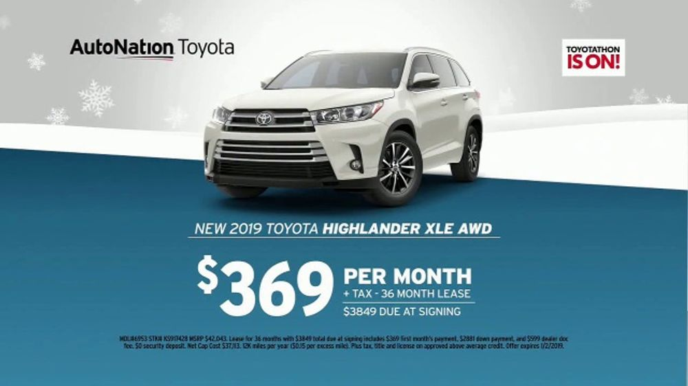 2017 Toyota Highlander Xle >> AutoNation Year End Event TV Commercial, '2019 Toyota ...