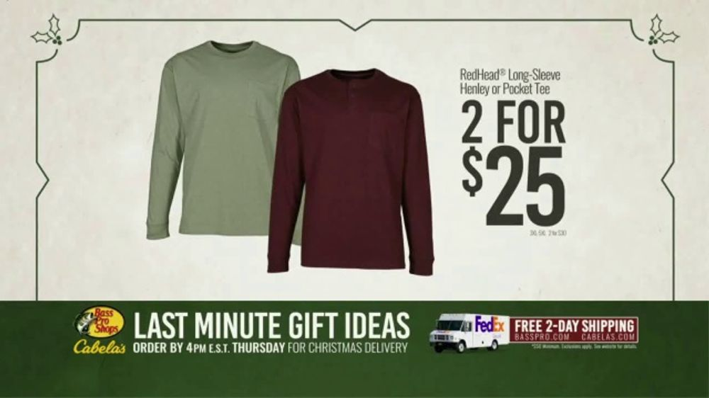 5fca34fc Bass Pro Shops TV Commercial, 'Last Minute Gift Ideas: Long Sleeve Tees and  Club Points' - iSpot.tv