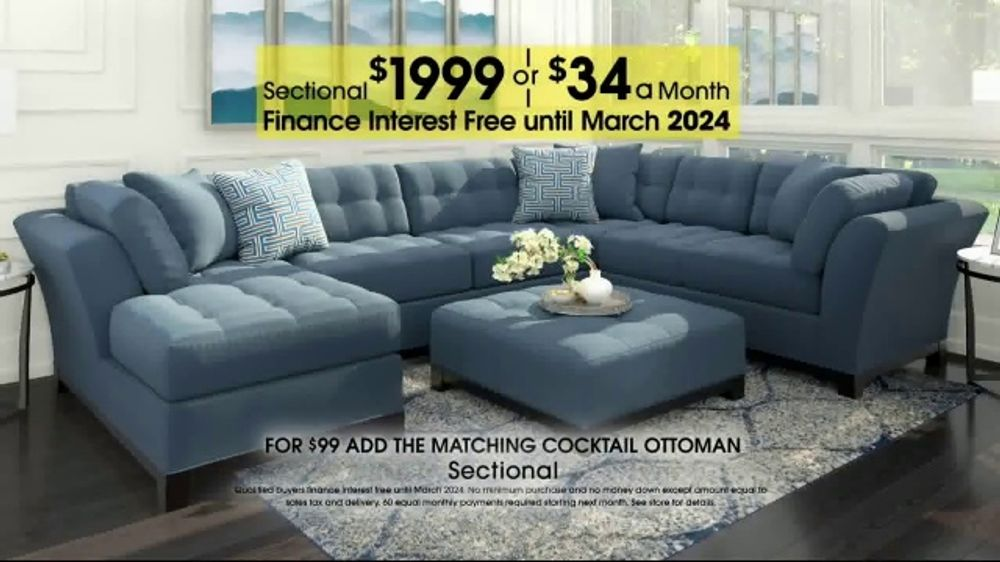 online retailer 97746 26949 Rooms to Go Anniversary Sale TV Commercial, 'Sectional and Matching  Ottoman' - Video