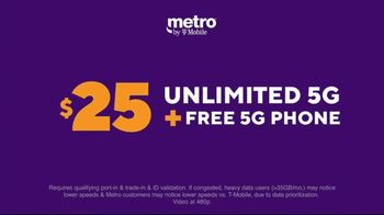Metro by T-Mobile TV Spot, 'Big 5G Upgrade: Unlimited for $25 Per Month, Free Galaxy 5G' - Thumbnail 4