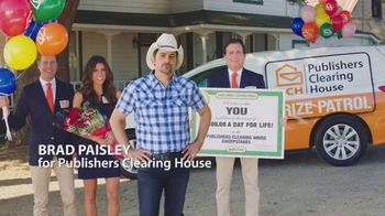 Publishers Clearing House TV Spot, 'Last Day: $1,000 a Day' Featuring Brad Paisley - 97 commercial airings