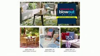 Overstock.com Memorial Day Blowout TV Spot, 'Christopher Knight Patio Furniture Savings and Free Shipping'
