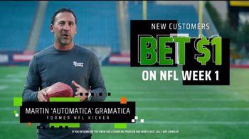 DraftKings Sportsbook TV Spot, 'NFL Week One: Bet $1, Get $200' Featuring Martin Gramatica - Thumbnail 3