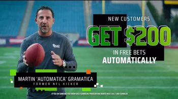 DraftKings Sportsbook TV Spot, 'NFL Week One: Bet $1, Get $200' Featuring Martin Gramatica - Thumbnail 4