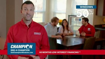 Champion Windows Hottest Sale of the Year TV Spot, 'Don't Sweat: 50% Off New Windows'
