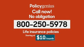 PolicyGenius TV Spot, 'Life Insurance Policies Starting At $10 a Month'