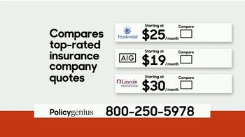 PolicyGenius TV Spot, 'Life Insurance Policies Starting At $10 a Month' - Thumbnail 4