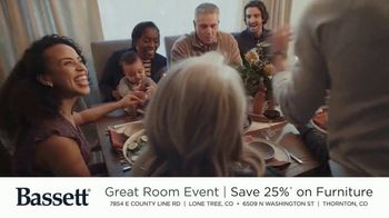 Bassett The Great Room Event TV Spot, 'Save 25% on Furniture'
