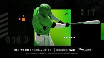 DraftKings Sportsbook TV Spot, 'A Real Hit: Bet $1, Win $100'