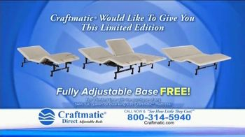 Craftmatic TV Spot, 'Fully Adjustable Base Free'