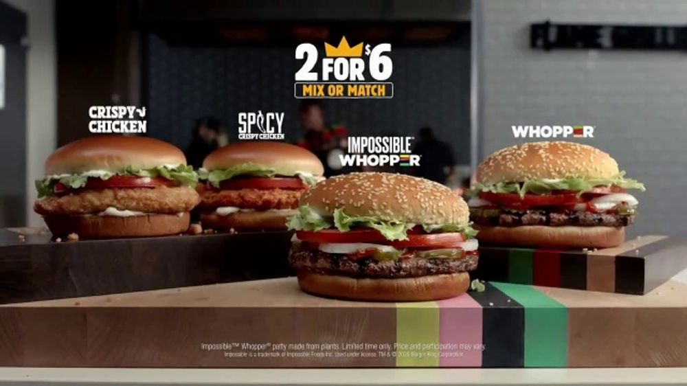 Burger King 2 for $6 Mix or Match TV Commercial, 'Impossible Whopper and Spicy Chicken'