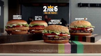 Burger King 2 for $6 Mix or Match TV Spot, \'Impossible Whopper and Spicy Chicken\'