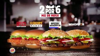 Burger King 2 for $6 Mix or Match TV Spot, 'Ahora con el Impossible Whopper' [Spanish]