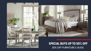 Bassett Presidents Day Sale TV Spot, 'Special Buys: 30 to 50% Off Furniture and Rugs'
