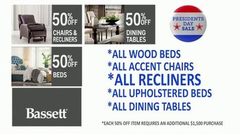 Bassett Presidents Day Sale TV Spot, '50% Off Beds, Recliners & Tables' - Thumbnail 3