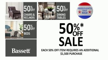 Bassett Presidents Day Sale TV Spot, '50% Off Beds, Recliners & Tables' - Thumbnail 4
