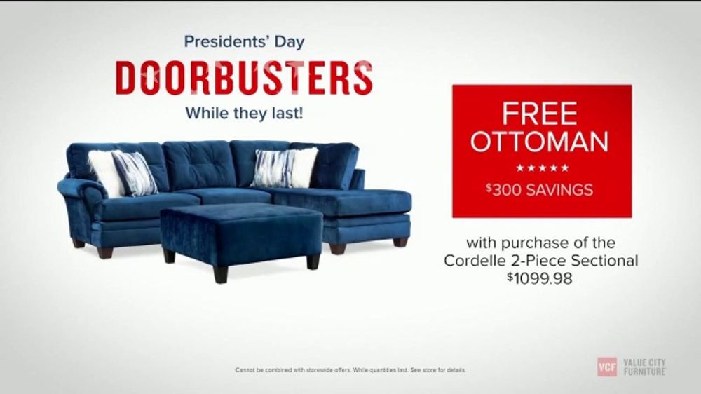 Value City Furniture Presidents Day Sale TV Commercial, 'Doorbuster Deals: Free Ottomans'