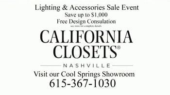 California Closets Lighting & Accessories Sales Event TV Spot, 'Nashville: Organize Your Home' - Thumbnail 10