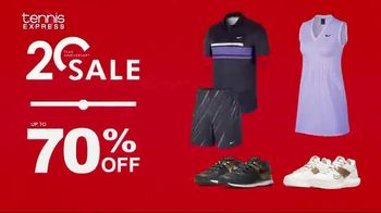 Tennis Express 20 Year Anniversary Sale TV Spot, '70 Percent: Shoes, Gear and Apparel' - Thumbnail 4