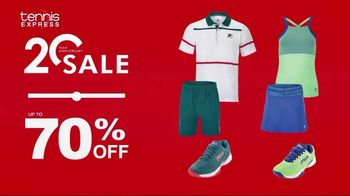 Tennis Express 20 Year Anniversary Sale TV Spot, '70 Percent: Shoes, Gear and Apparel' - Thumbnail 5