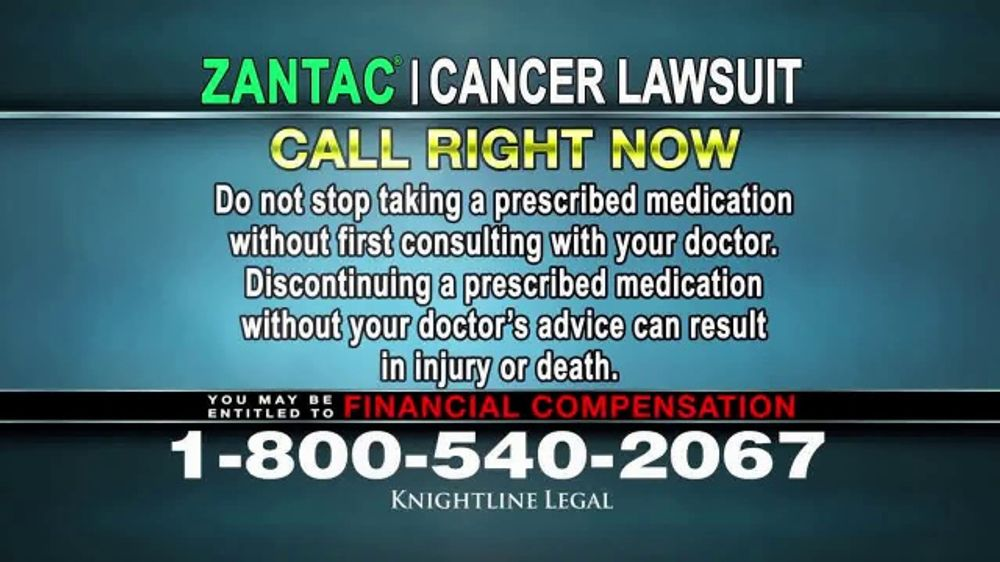 Knightline Legal TV Commercial, 'Zantac: Cancer' - iSpot.tv