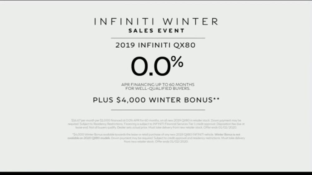infiniti winter sales event tv commercial   u0026 39 weather alert