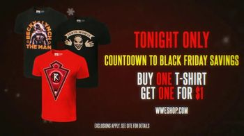 WWE Shop TV Spot, 'Holidays: Buy One, Get One for $1: Tees' - 5 commercial airings