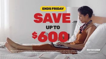 Mattress Firm Black Friday Sale TV Spot, 'Ends Friday: Save Up to $600'